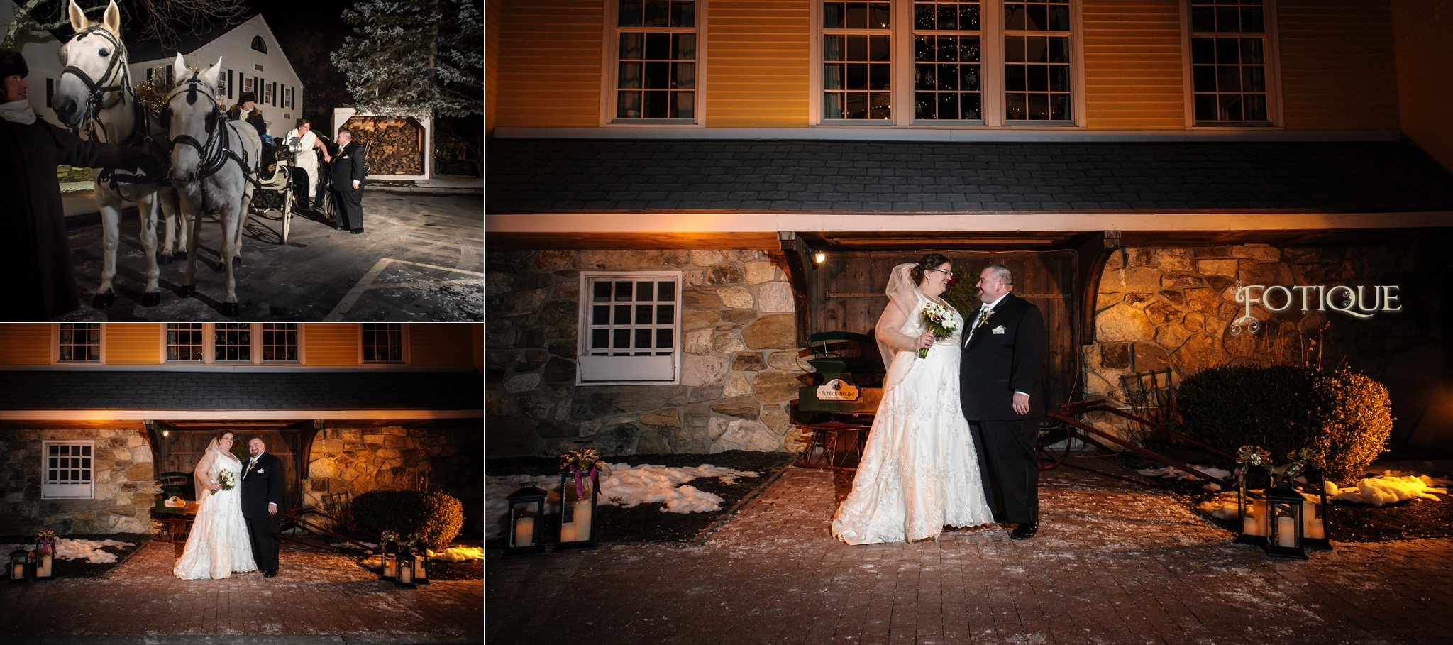 Hingham MA Wedding Photographer  Publick House Wedding  Burgundy and Champagne Wedding Winter Wedding Horse and Carriage Catholic Wedding Twinkle Lights Lanterns Bride and Groom Night Wedding Historical Inn Wedding Fotique
